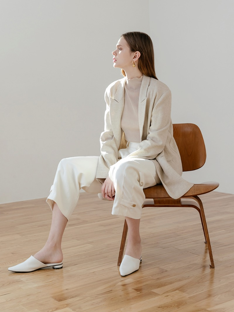 Linen oatmeal single jacket
