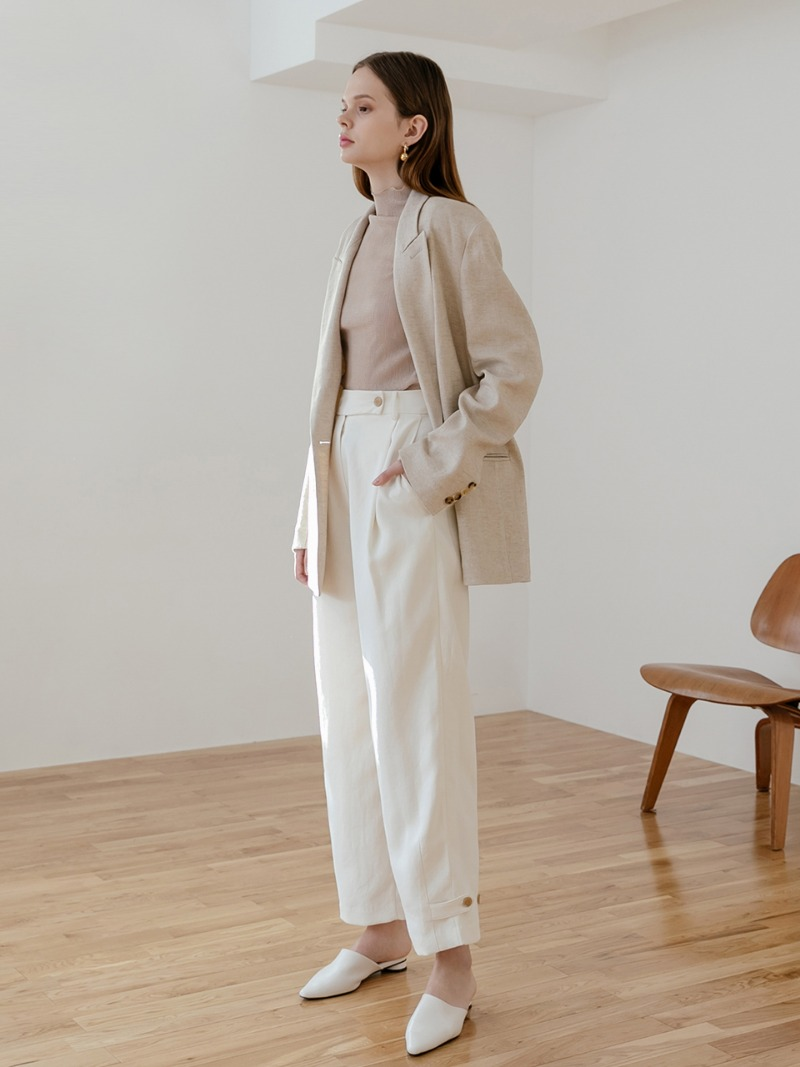 Cream multi style ankle button tab trousers
