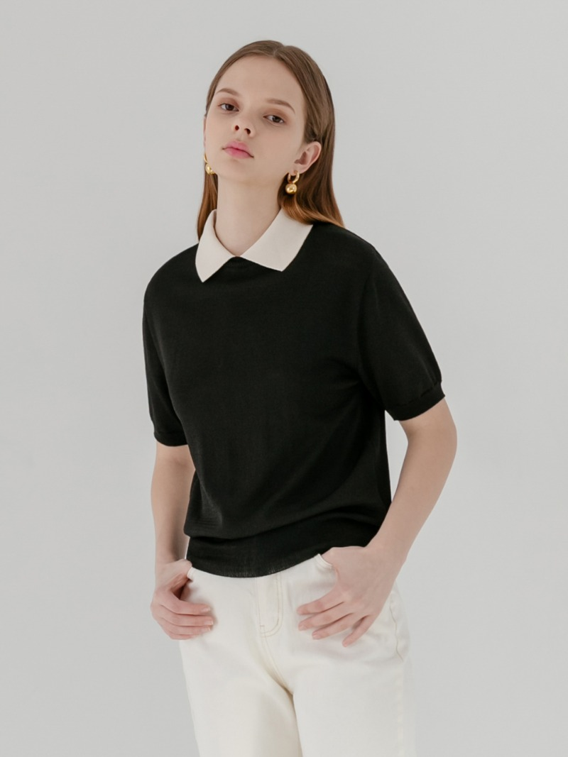 Knit contrast collar short sleeve top [bk]
